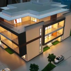 Maquette architecturale du bâtiment résidentiel avec des détails