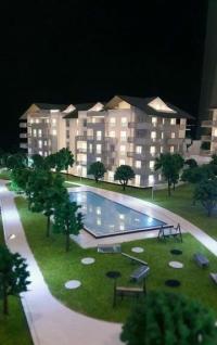 Maquette architecturale-de-logement résidentiel lacustre