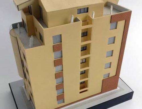 Modèle architectural de bâtiment de bureau de brique