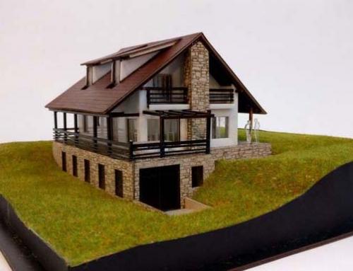 Modèle d'échelle architecturale de cabine de montagne