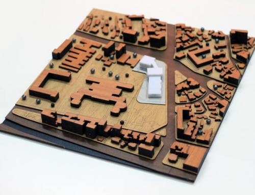 Modèle d'échelle d'architecture urbanistique d'une zone centrale de la ville