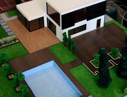 Maquette architecturale de villa avec terrasse